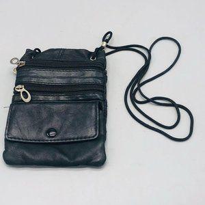 shoulder bag black 3 zipper snap shoulder strap 7x